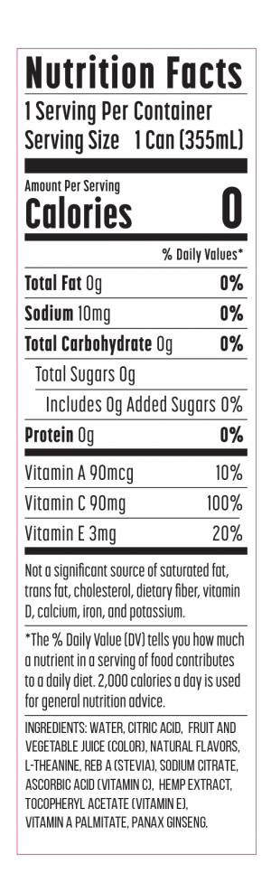 nutrition label for calm